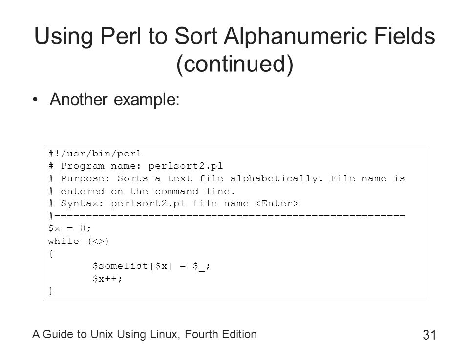 Using Perl to Sort Alphanumeric Fields (continued)