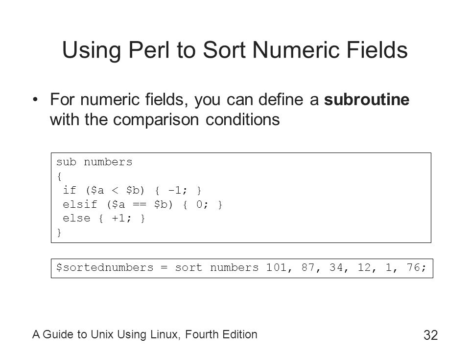 Using Perl to Sort Numeric Fields