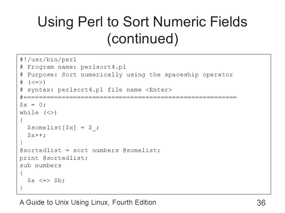 Using Perl to Sort Numeric Fields (continued)