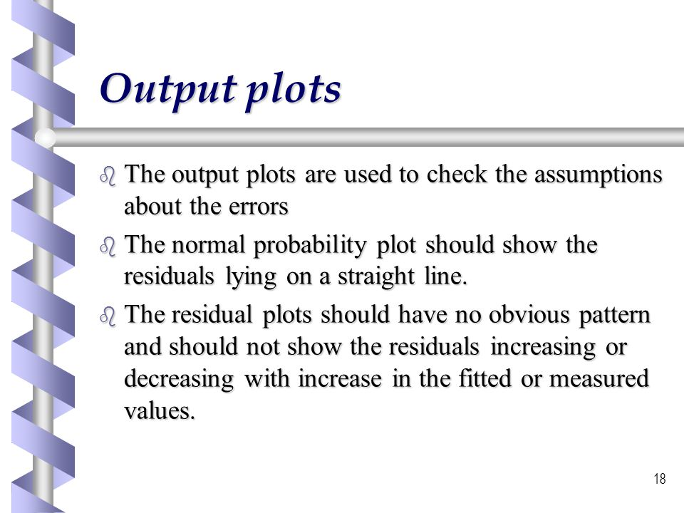 Output plots The output plots are used to check the assumptions about the errors.
