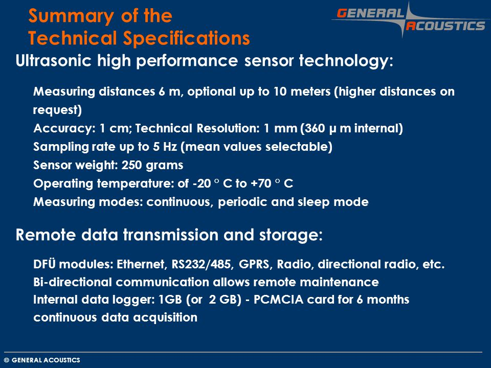 Summary of the Technical Specifications