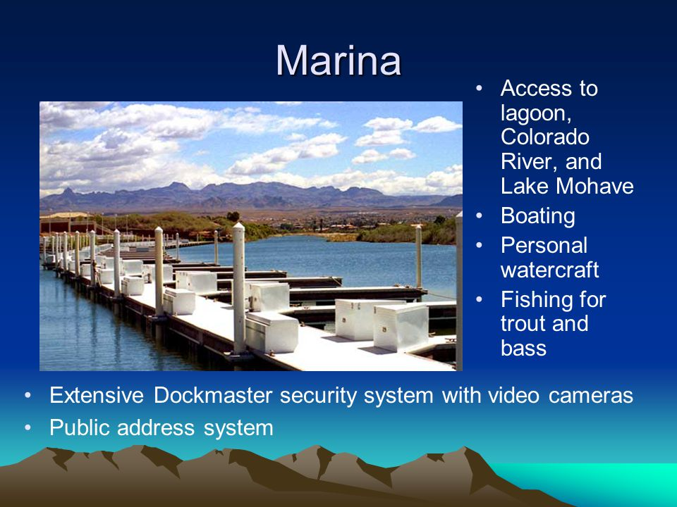 Marina Access to lagoon, Colorado River, and Lake Mohave Boating
