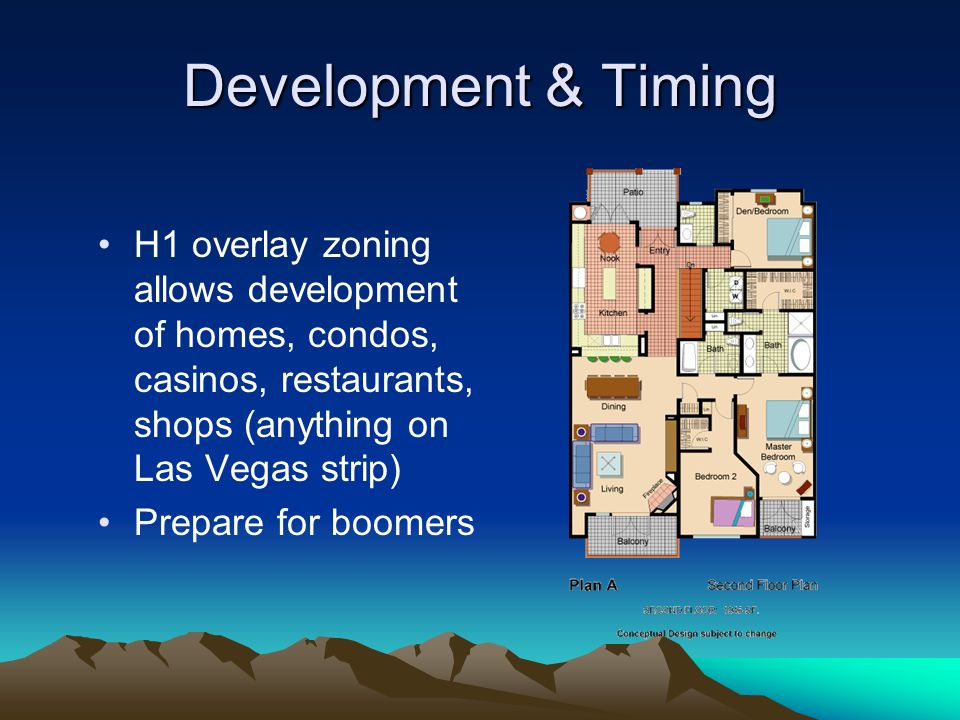 Development & Timing H1 overlay zoning allows development of homes, condos, casinos, restaurants, shops (anything on Las Vegas strip)