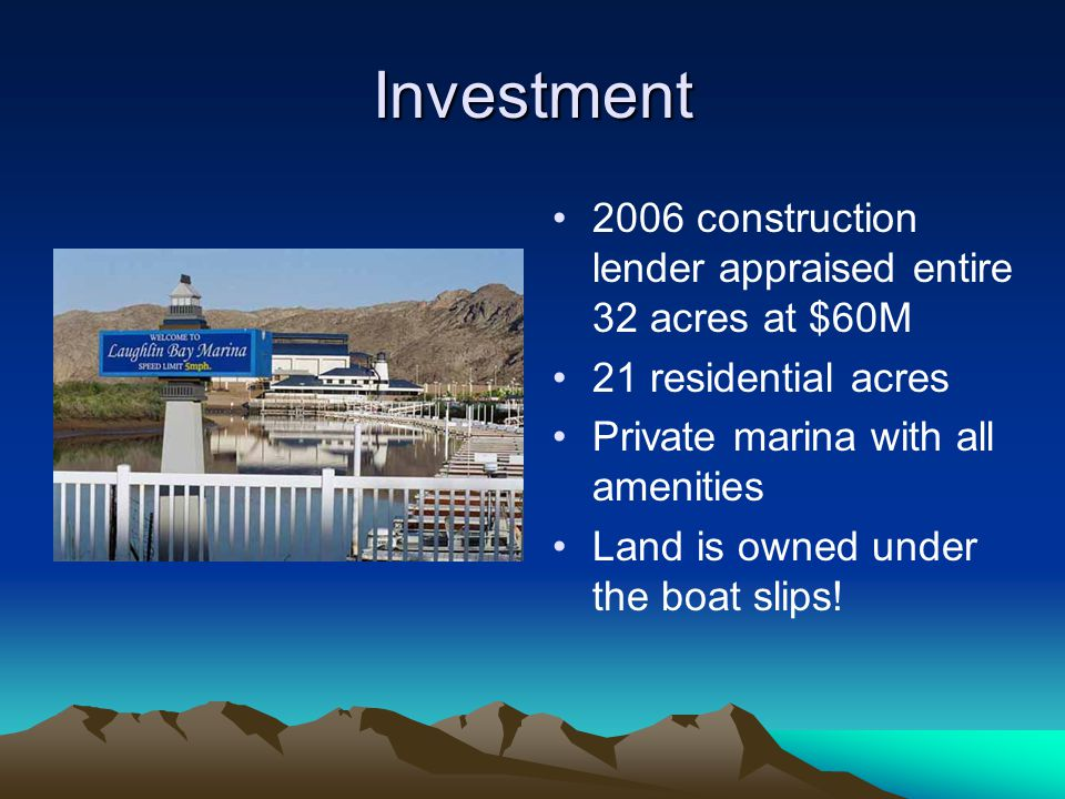 Investment 2006 construction lender appraised entire 32 acres at $60M
