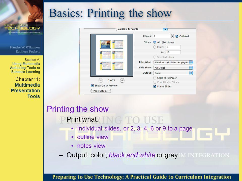 Basics: Printing the show