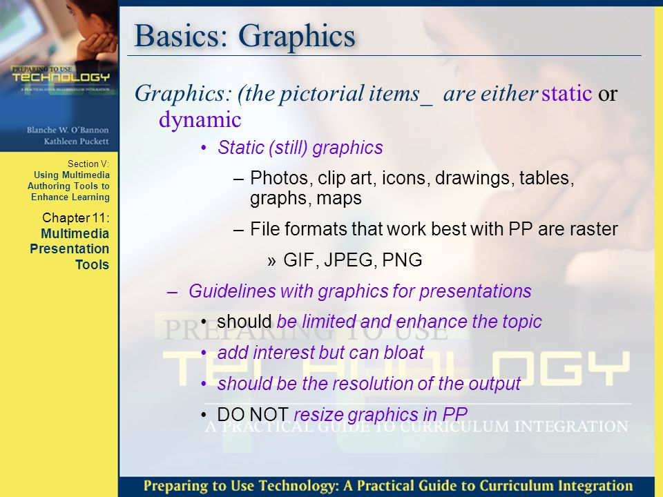 Basics: Graphics Graphics: (the pictorial items_ are either static or dynamic. Static (still) graphics.