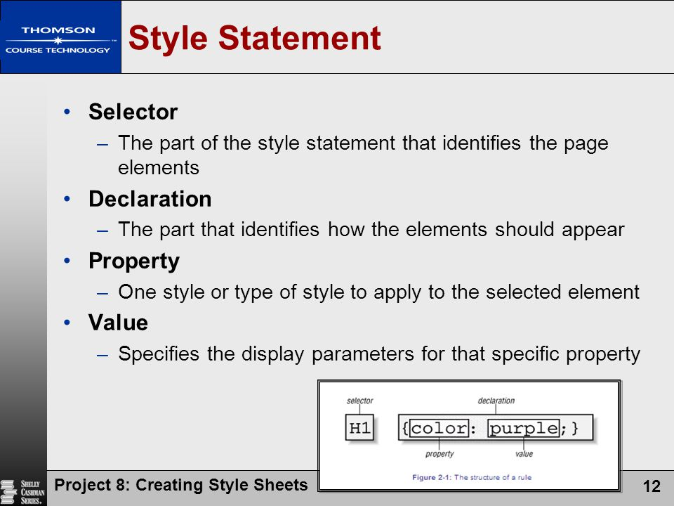 Style Statement Selector Declaration Property Value