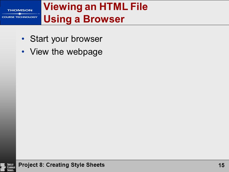 Viewing an HTML File Using a Browser