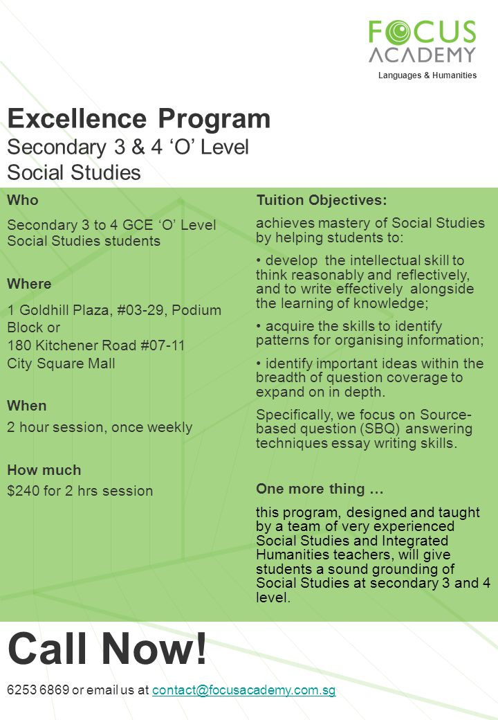 Call Now! Excellence Program Secondary 3 & 4 'O' Level Social Studies