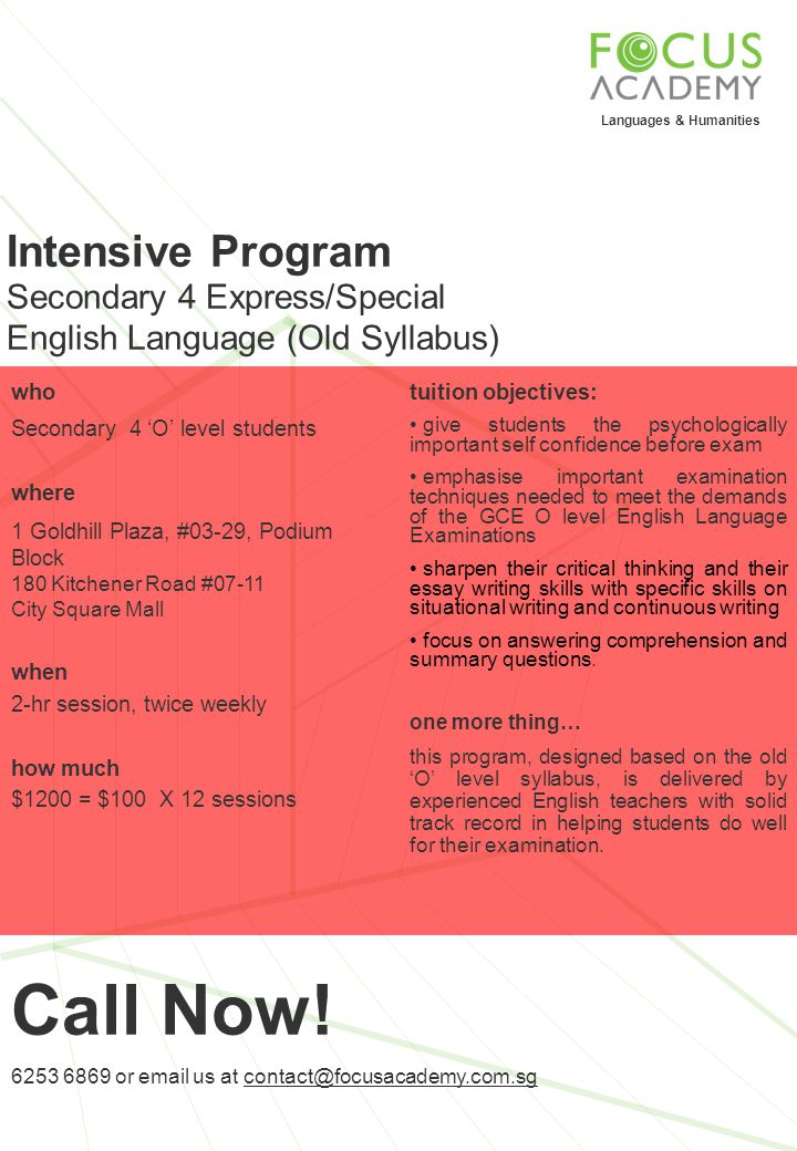 Call Now! Intensive Program Secondary 4 Express/Special