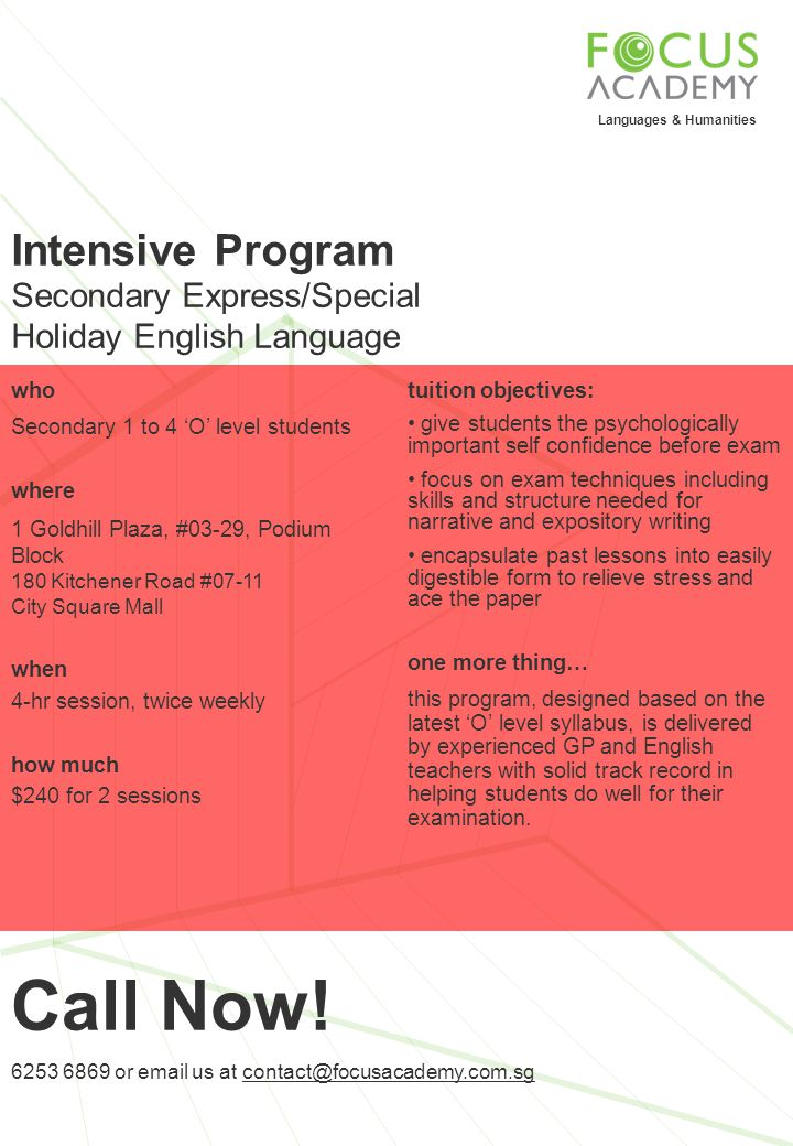Call Now! Intensive Program Secondary Express/Special