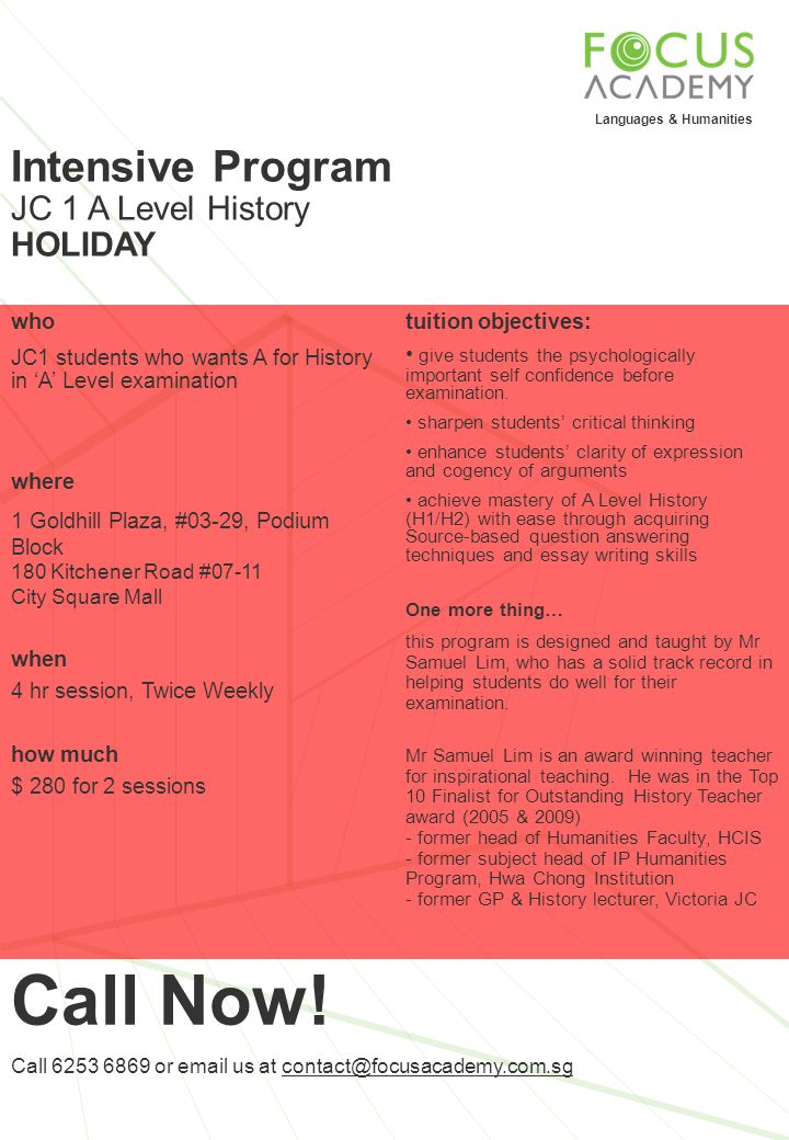 Call Now! Intensive Program JC 1 A Level History HOLIDAY who