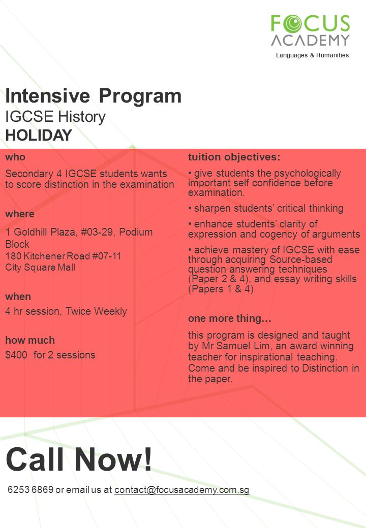 Call Now! Intensive Program IGCSE History HOLIDAY tuition objectives: