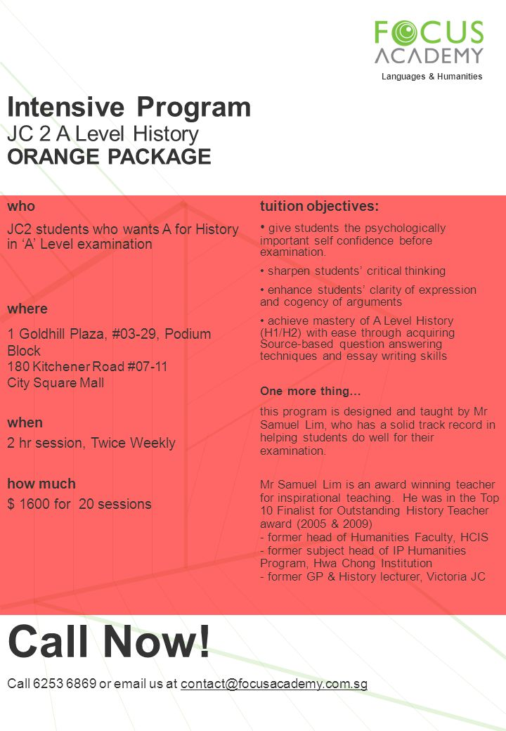 Call Now! Intensive Program JC 2 A Level History ORANGE PACKAGE who