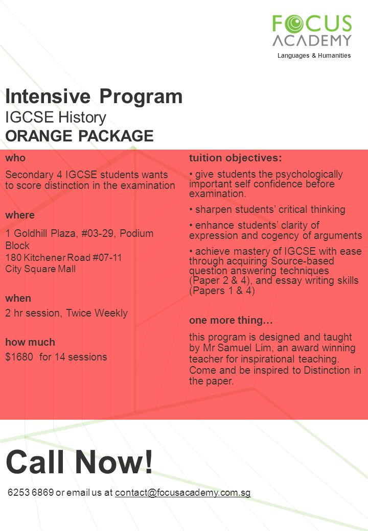 Call Now! Intensive Program IGCSE History ORANGE PACKAGE