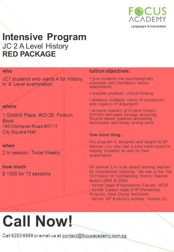 Call Now! Intensive Program JC 2 A Level History RED PACKAGE who