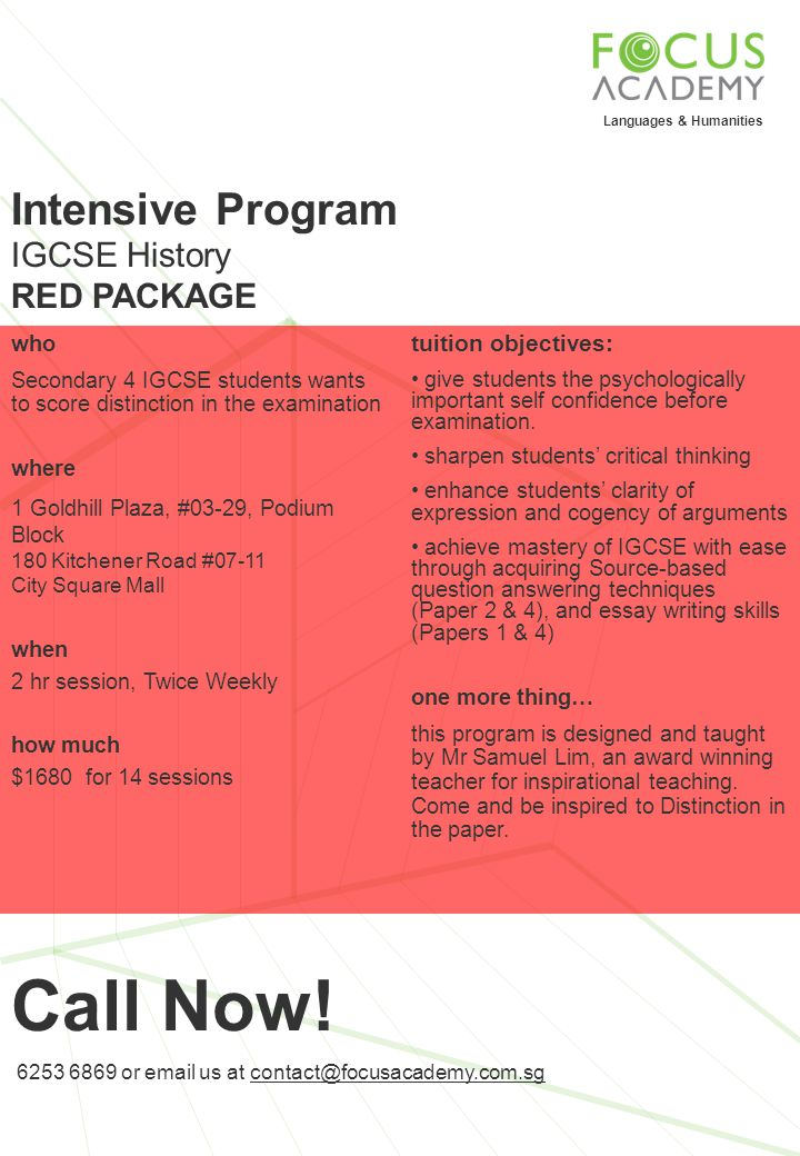 Call Now! Intensive Program IGCSE History RED PACKAGE