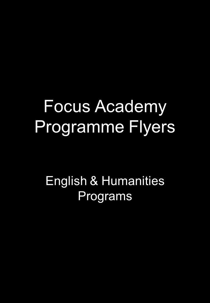 Focus Academy Programme Flyers