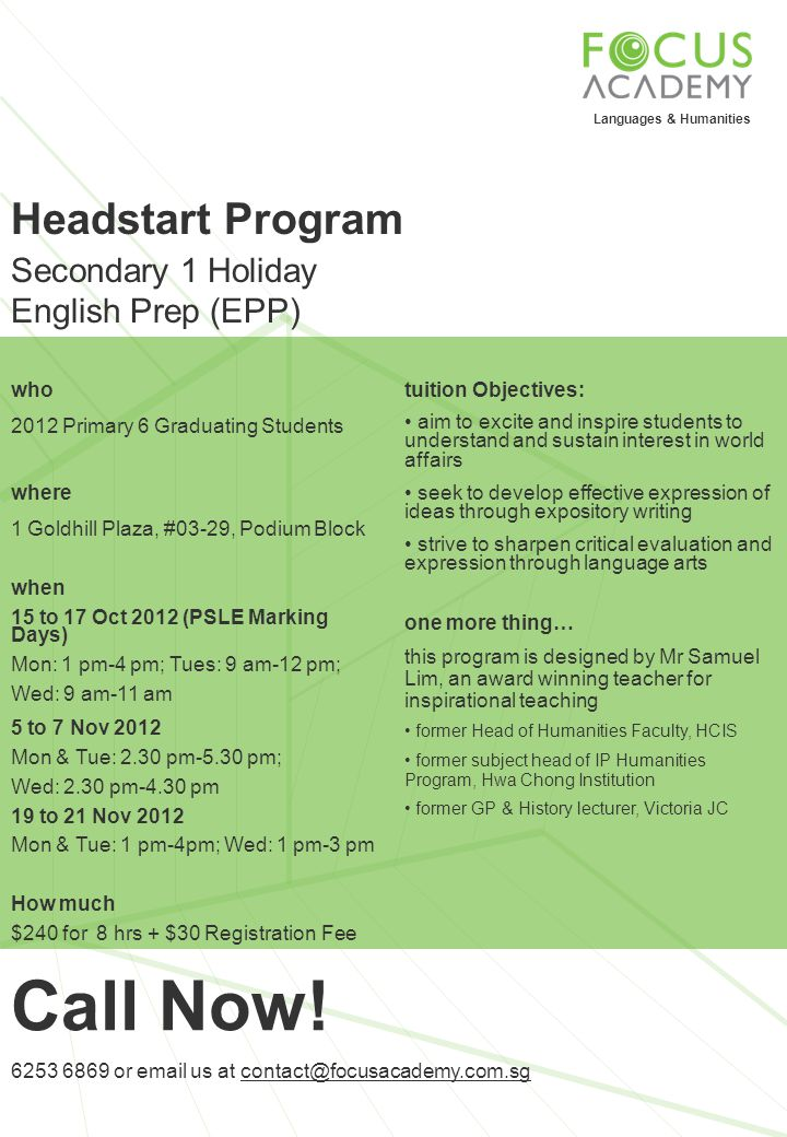 Call Now! Headstart Program Secondary 1 Holiday English Prep (EPP) who