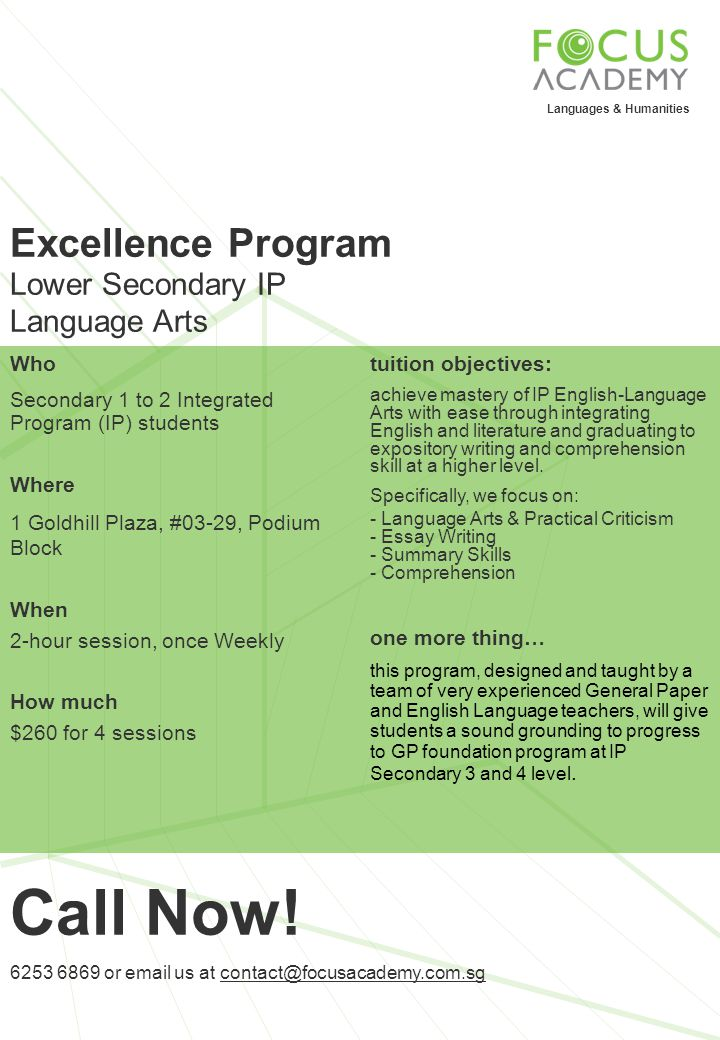 Call Now! Excellence Program Lower Secondary IP Language Arts Who