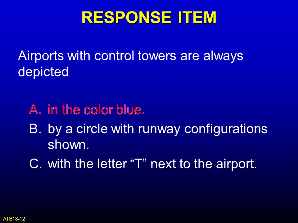 RESPONSE ITEM Airports with control towers are always depicted