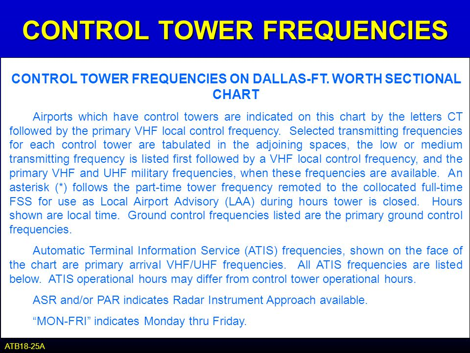 CONTROL TOWER FREQUENCIES