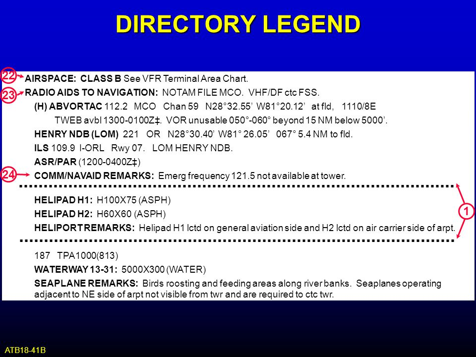 DIRECTORY LEGEND 22. AIRSPACE: CLASS B See VFR Terminal Area Chart. RADIO AIDS TO NAVIGATION: NOTAM FILE MCO. VHF/DF ctc FSS.