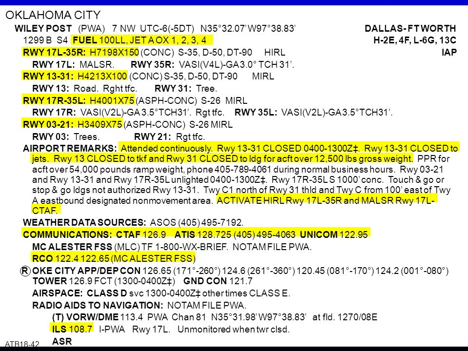OKLAHOMA CITY WILEY POST (PWA) 7 NW UTC-6(-5DT) N35°32.07' W97°38.83' DALLAS- FT WORTH.