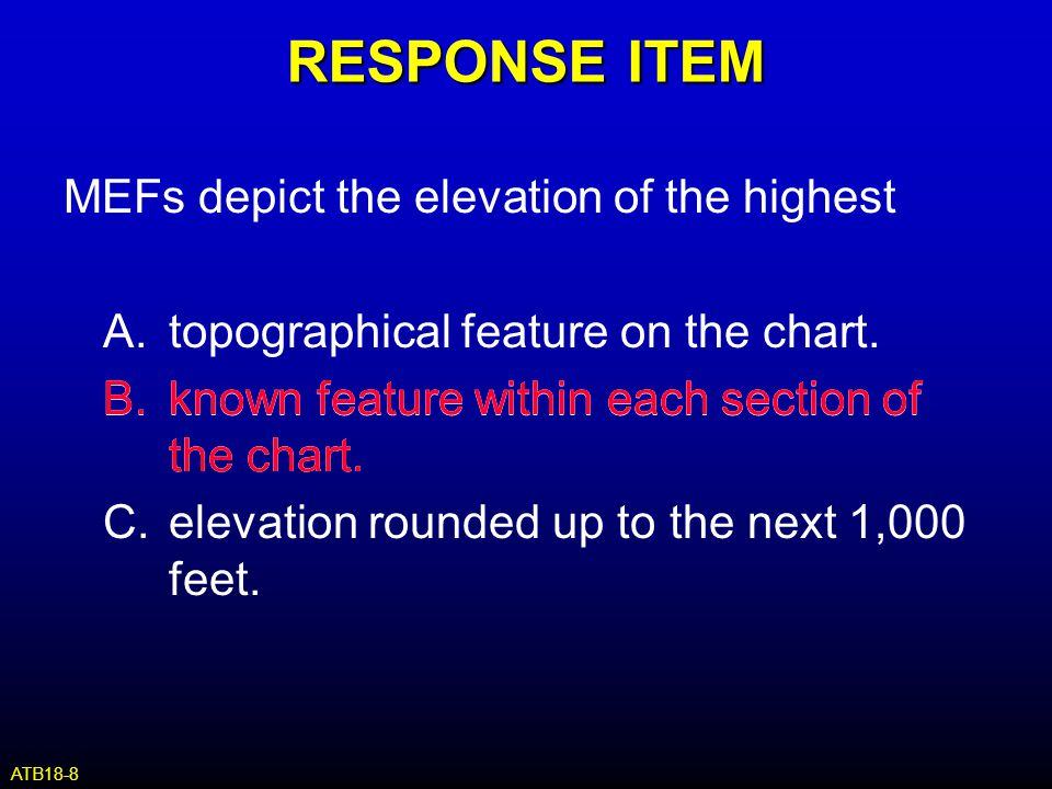 RESPONSE ITEM MEFs depict the elevation of the highest