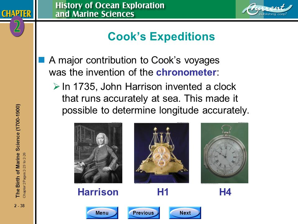 Cook's Expeditions A major contribution to Cook's voyages was the invention of the chronometer:
