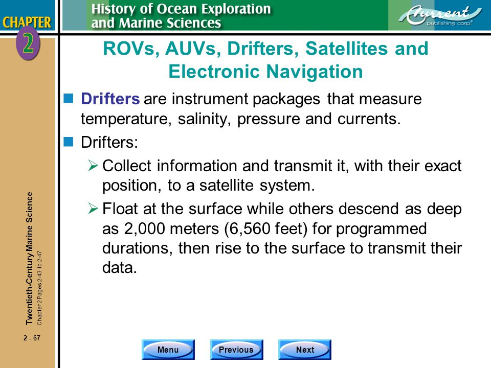 ROVs, AUVs, Drifters, Satellites and Electronic Navigation