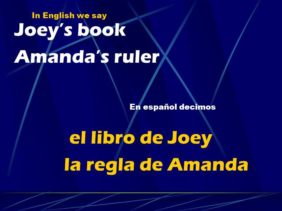 Joey's book Amanda's ruler el libro de Joey la regla de Amanda