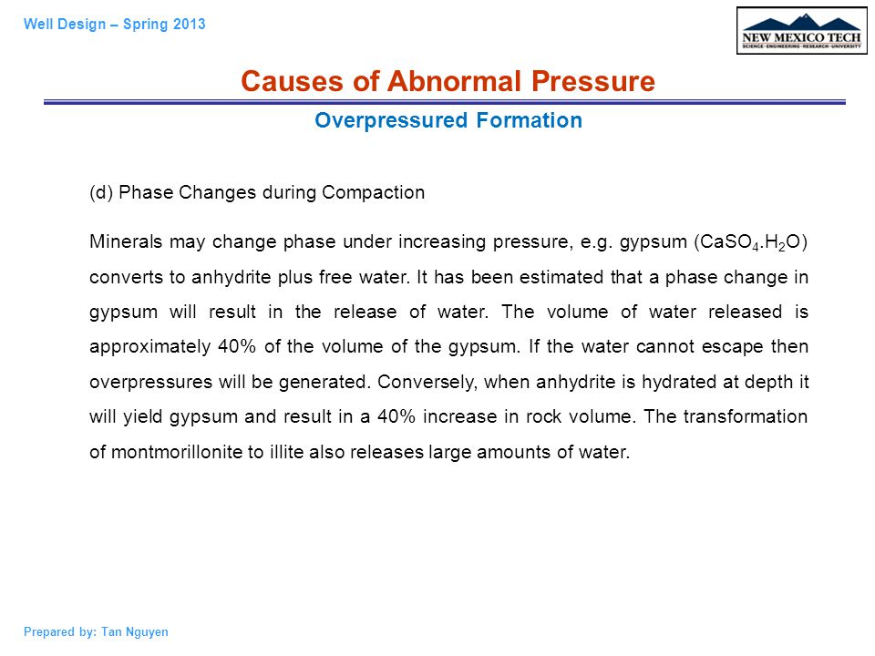 Causes of Abnormal Pressure Overpressured Formation