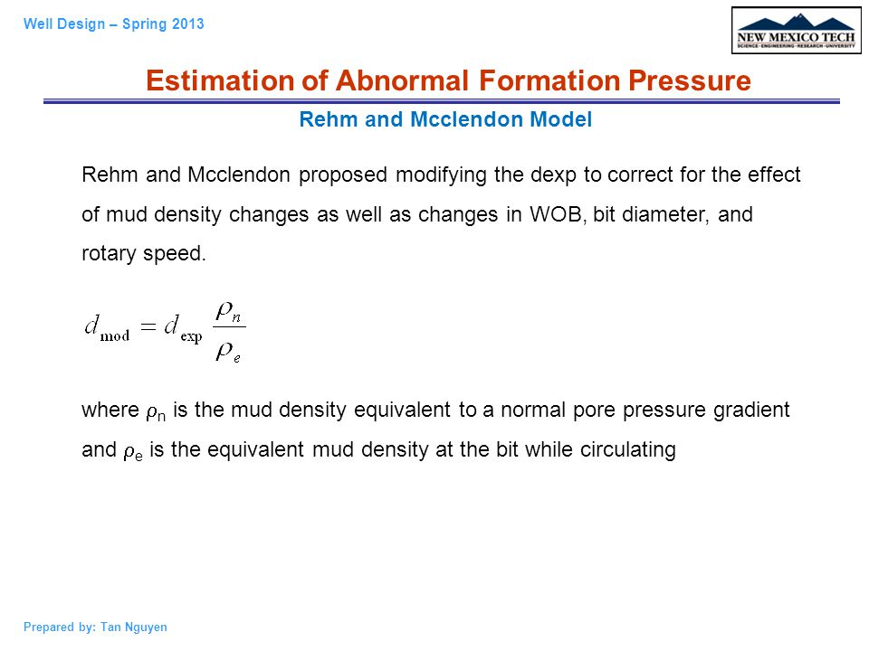 Estimation of Abnormal Formation Pressure Rehm and Mcclendon Model