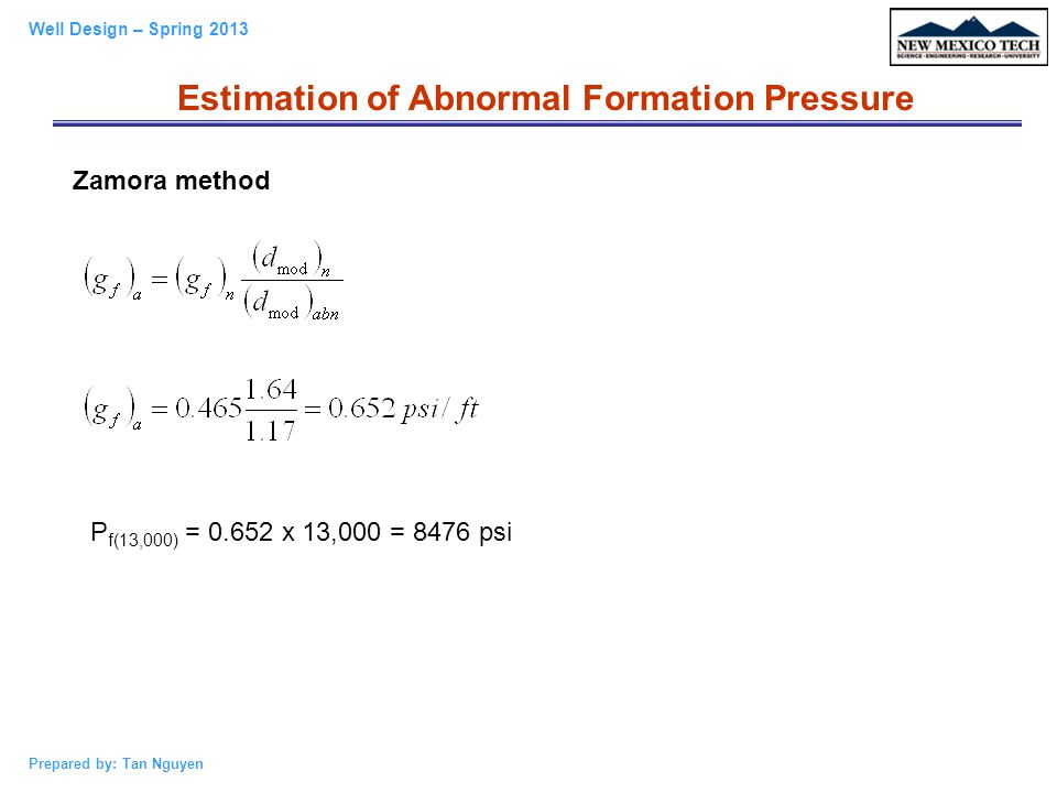 Estimation of Abnormal Formation Pressure