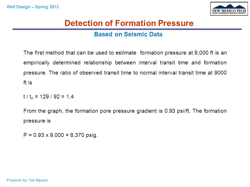 Detection of Formation Pressure