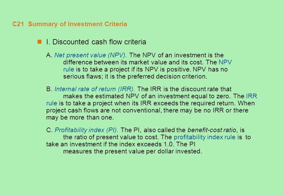 C21 Summary of Investment Criteria