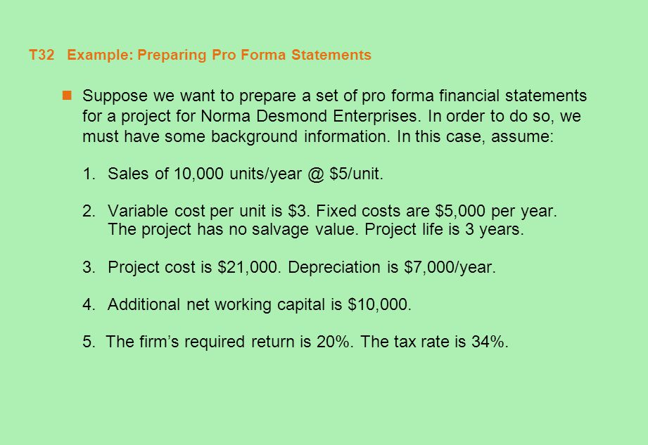 T32 Example: Preparing Pro Forma Statements