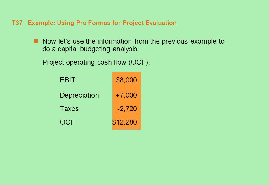 T37 Example: Using Pro Formas for Project Evaluation