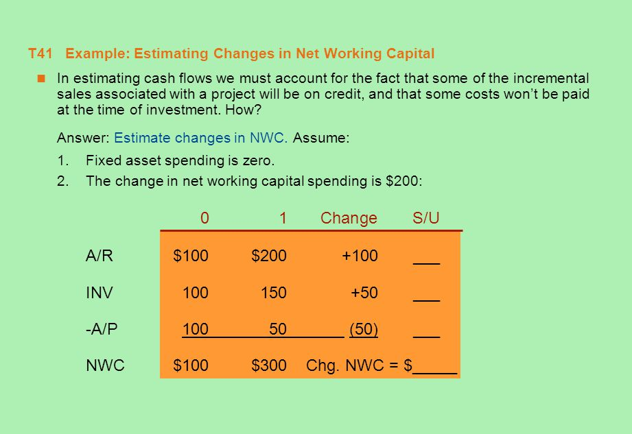 T41 Example: Estimating Changes in Net Working Capital