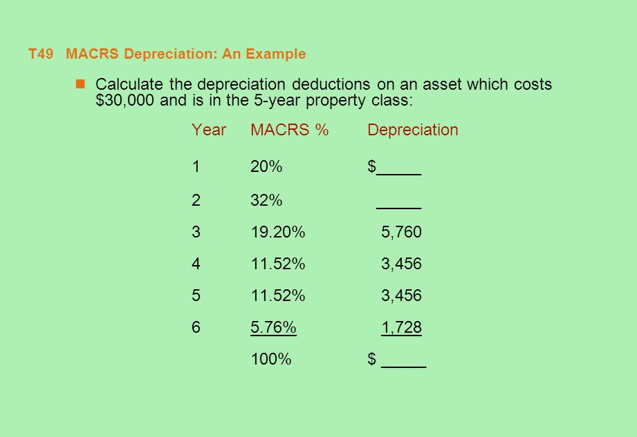 T49 MACRS Depreciation: An Example