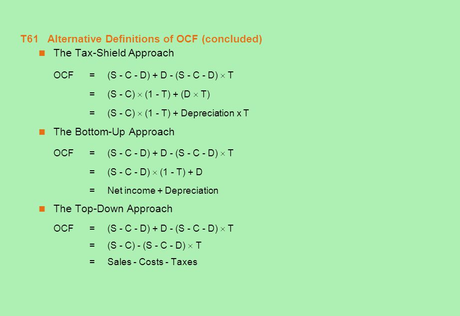 T61 Alternative Definitions of OCF (concluded)