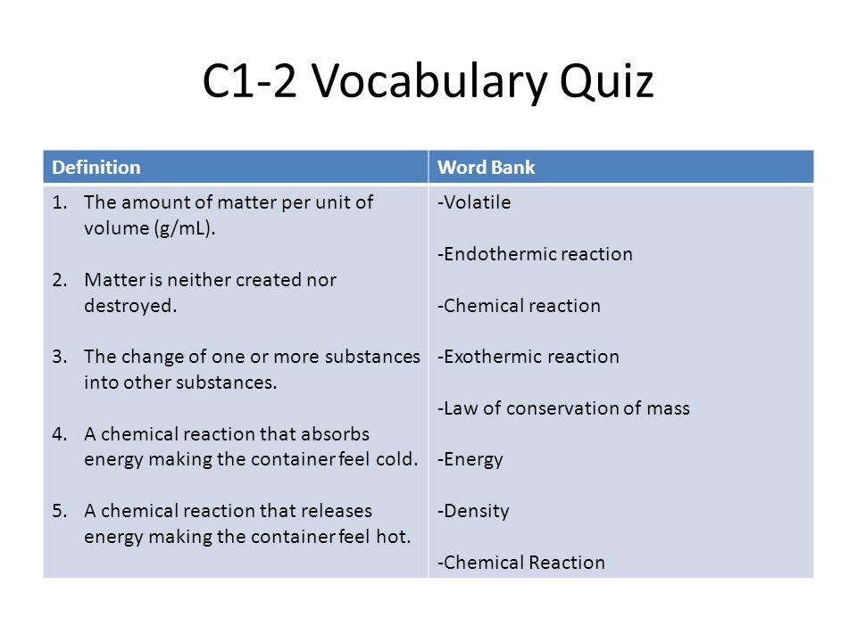 C1-2 Vocabulary Quiz Definition Word Bank