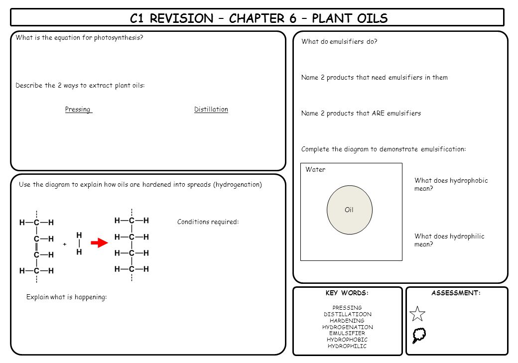 C1 REVISION – CHAPTER 6 – PLANT OILS