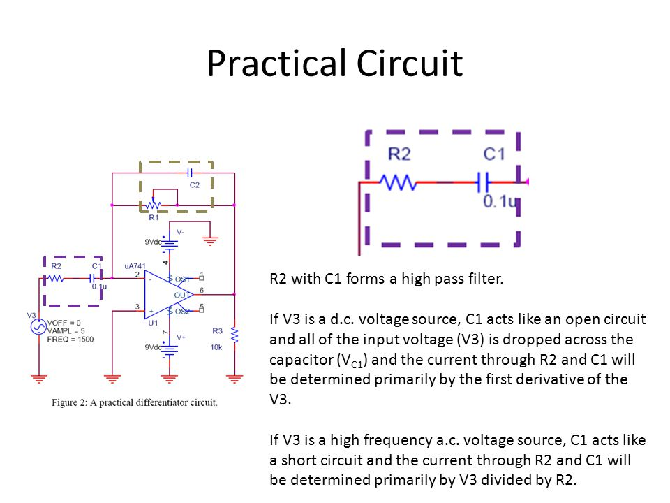 Practical Circuit R2 with C1 forms a high pass filter.