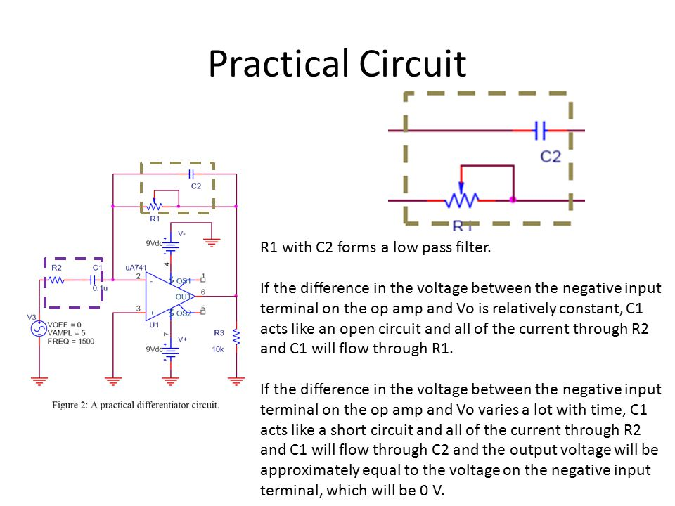 Practical Circuit R1 with C2 forms a low pass filter.