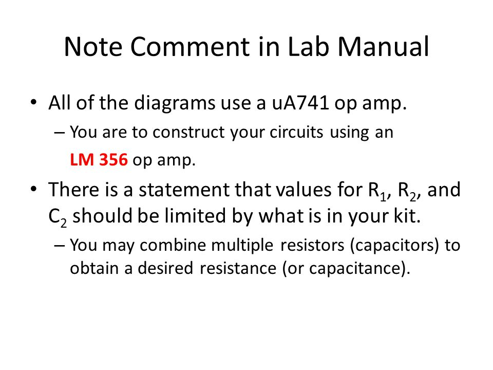 Note Comment in Lab Manual