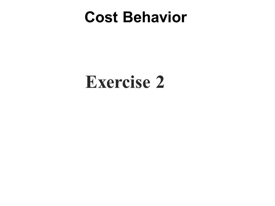 Cost Behavior Exercise 2