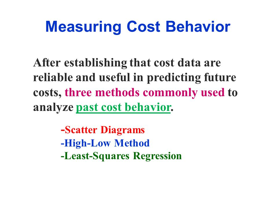 Measuring Cost Behavior