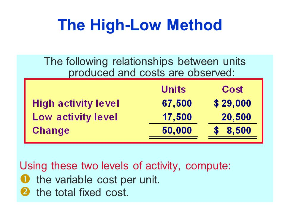 The High-Low Method The following relationships between units produced and costs are observed: Using these two levels of activity, compute: